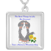 Bernese Mtn Dog Best Things In Life Necklace