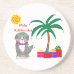 Bernese Mtn Dog Hawaiian Christmas Beverage Coasters