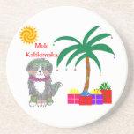 Bernese Mtn Dog Hawaiian Christmas Drink Coaster