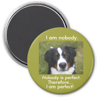 Bernese puppy face...nobody is perfect. 3 inch round magnet