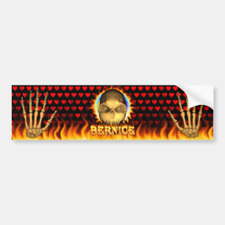 Bernice skull real fire and flames bumper sticker