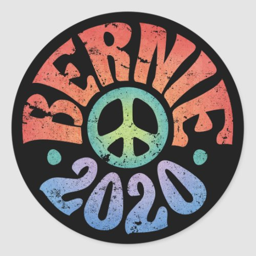 Bernie 2020 Peace Hippie Distressed Classic Round Sticker