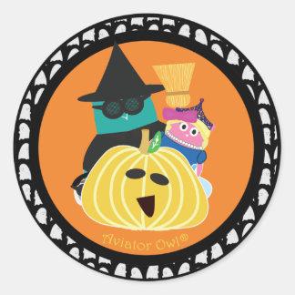 Bernie and Mina behind a Pumpkin Classic Round Sticker