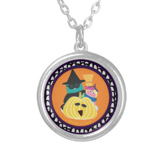 Bernie and Mina behind a Pumpkin Round Pendant Necklace