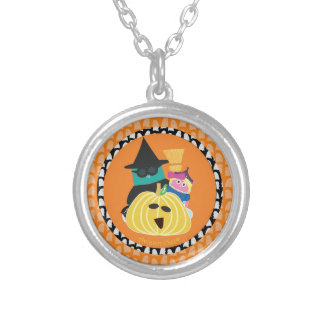 Bernie and Mina Pumpkins Round Pendant Necklace