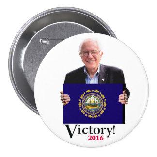 Bernie ganará el New Hampshire primario Pin Redondo De 3 Pulgadas