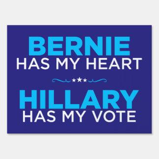 Bernie Has My Heart, Hillary Has My Vote Yard Sign