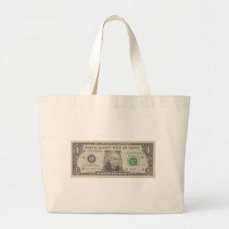 Bernie Madoff With My Money on a US Dollar Bill Canvas Bags