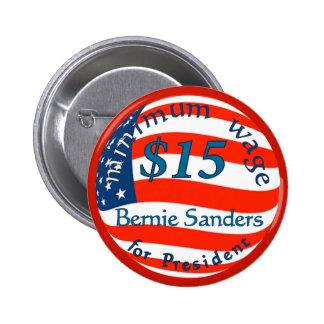 Bernie Sanders, Minimum Wage $15 on Flag Button