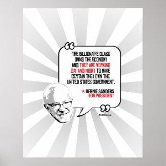 Bernie Sanders Quote - Billionaires own Poster