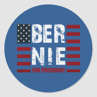 Bernie Sanders US Flag Classic Round Sticker