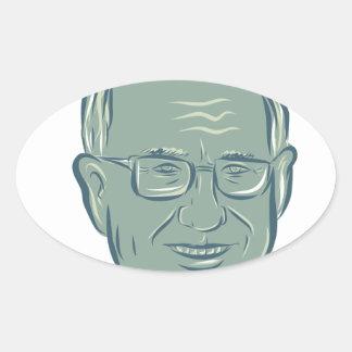 Bernie Sanders US Senator Drawing Oval Sticker