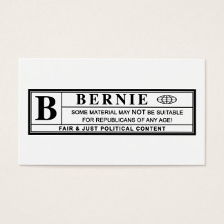 Bernie Sanders Warning Label Business Card