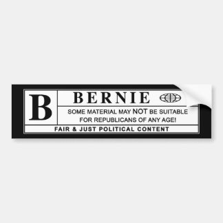 Bernie Sanders Warning Label Car Bumper Sticker