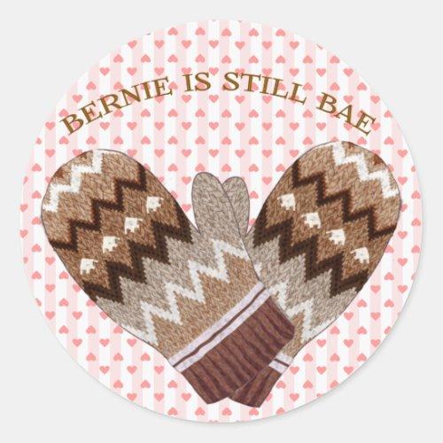 Bernies Mittens Bernie is Bae Classic Round Sticker