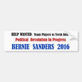 BernieSanders: Revolución política en blanco Pegatina Para Auto