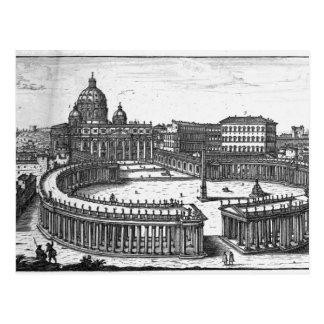 Bernini's original plan for St. Peter's Square Postcard