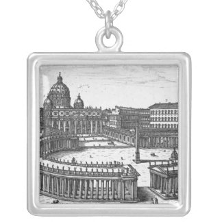 Bernini's original plan for St. Peter's Square Silver Plated Necklace