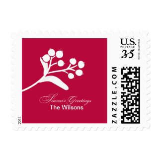 Berries and Branches Holiday Wishes stamp