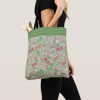 Berries and Butterflies Garden Print Tote