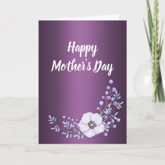 Berries and Flowers Purple Mother's Day Card