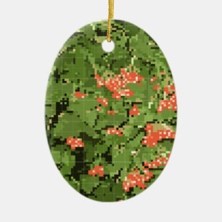 berries and leaves of the viburnum in the form of ceramic ornament