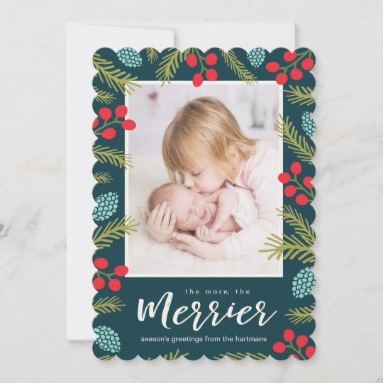 berries and pine birth announcement holiday card