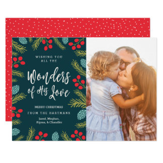 Berries and Pine Christmas Photo Card | Wonders