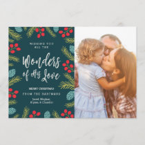 Berries and Pine Christmas Photo Card | Wonders