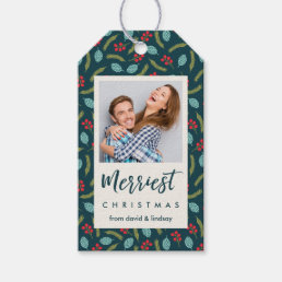 Berries and Pine Holiday Photo Gift Tags