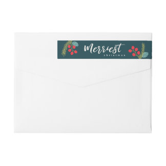 Berries and Pine Wrap Around Labels
