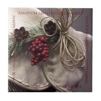 Berries and Pinecones Ceramic Tile