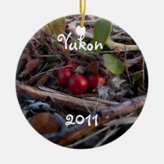 Berries and Twigs; Yukon Territory Souvenir Double-Sided Ceramic Round Christmas Ornament