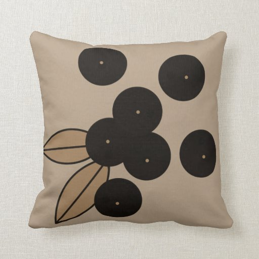 Berries_Black_Taupe_Modern_Pillow_MED Throw Pillow Zazzle