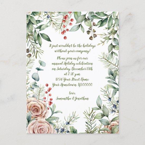 Berries, Eucalyptus, Pine, Roses Christmas Party Invitation Postcard