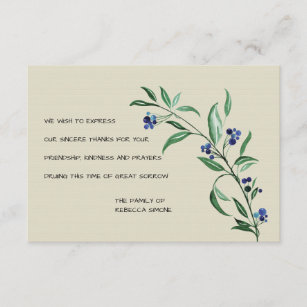 berries funeral thank you cards