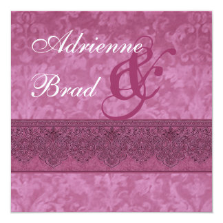 "Berry and Burgundy Damask Wedding Invitation E419 5.25"" Square Invitation Card"