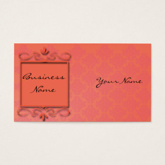 Berry and Papaya Damask Business Card