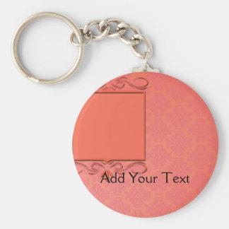 Berry and Papaya Damask Basic Round Button Keychain