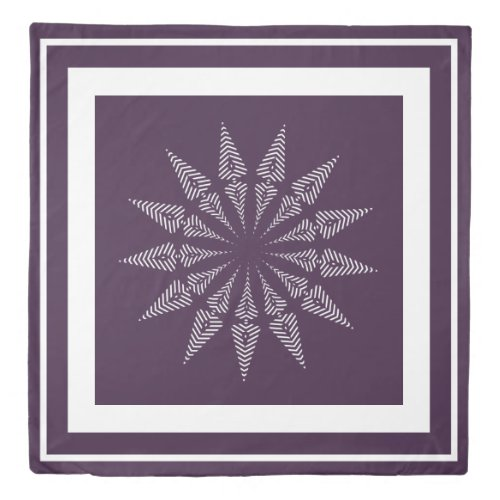 Berry and White Abstract Striped Star Duvet Cover