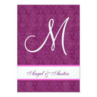 Berry and White Damask Square Wedding A455 5x7 Paper Invitation Card