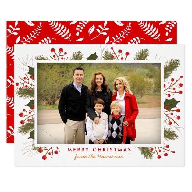 Berry Branches Frame | Modern Christmas Photo Flat Card