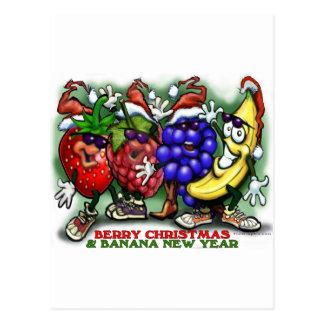 Berry Christmas Banana New Year Postcard