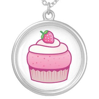 berry cupcake round pendant necklace