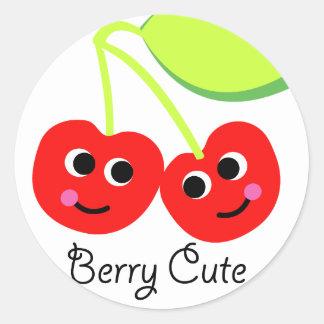 berry cute classic round sticker