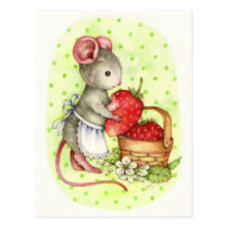 Berry Delicious - Cute Mouse Art Postcard