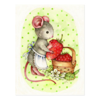 Berry Delicious - Cute Mouse Art Postcard