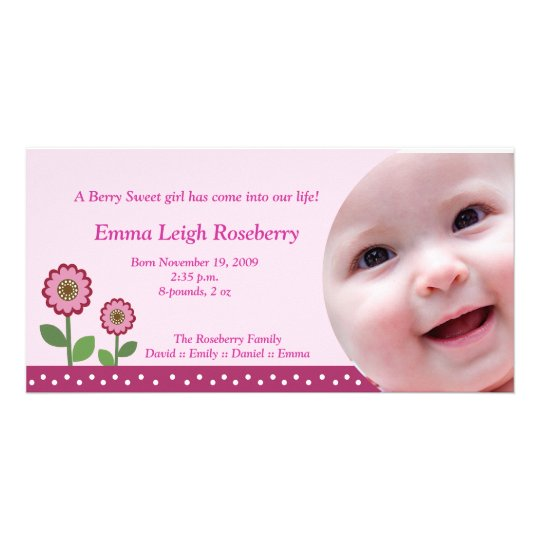Berry Flower Garden 8x4 Photo Birth Announcement