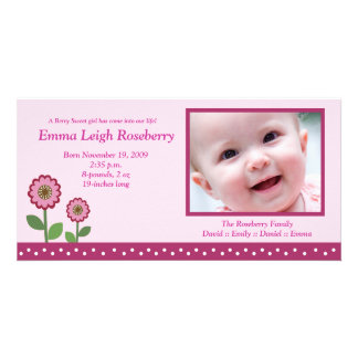 Berry Flower Garden 8x4 Photo Birth Announcement Photo Card Template