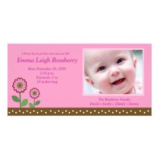 Berry Flower Garden 8x4 Photo Birth Announcement Photo Cards